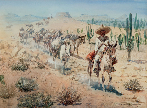 Art Prints of Vaquero Pack Train by Edward Borein