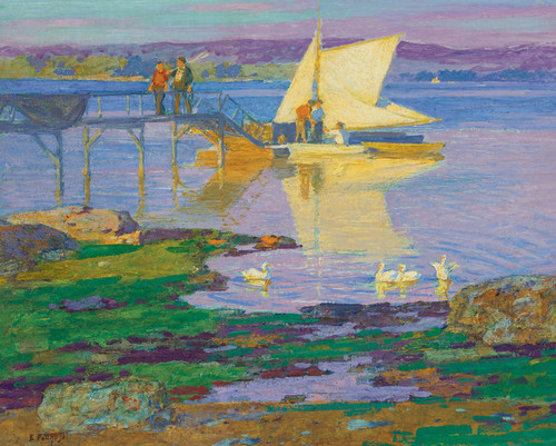 Art Prints of Boat at Dock by Edward Henry Potthast