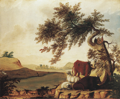 Art Prints of Landscape with Cows and Sheep by Edward Hicks