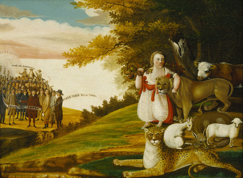 Art Prints of A Peaceable Kingdom with Quakers Bearing Banner by Edward Hicks