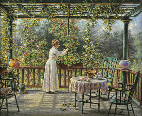 Art Prints of The Artist's Wife Clipping Flowers by Edward Lamson Henry