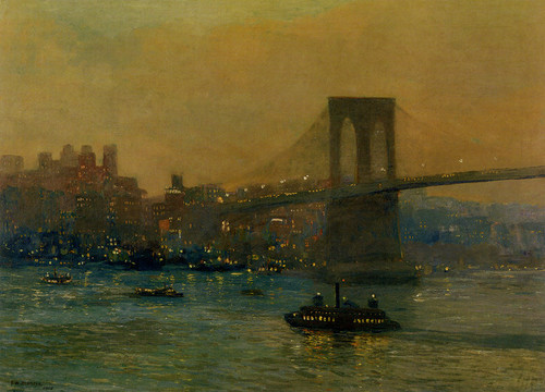 Art Prints of Brooklyn Bridge at Night by Edward Redfield