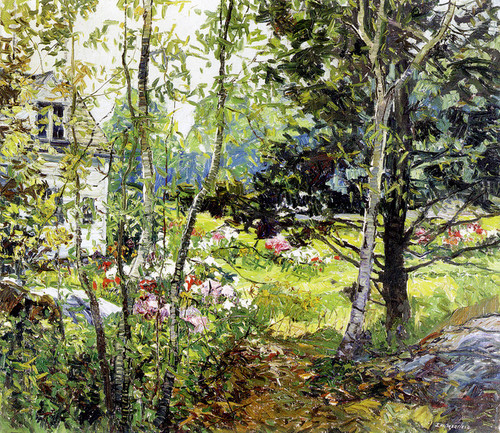 Art Prints of White House and Flowers by Edward Redfield