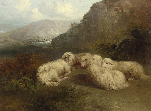 Art Prints of Sheep in a Mountainous Landscape by Edward Robert Smythe