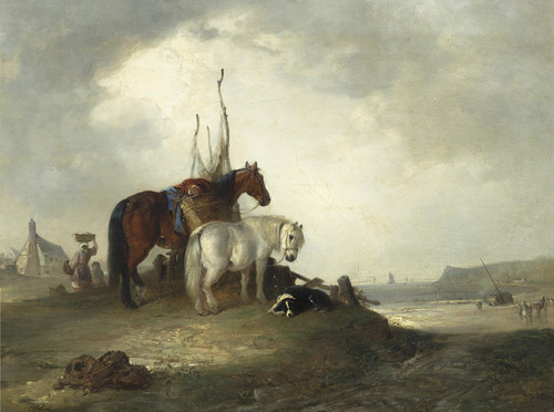 Art Prints of Two Horses and a Dog Resting by the Seashore by Edward Robert Smythe