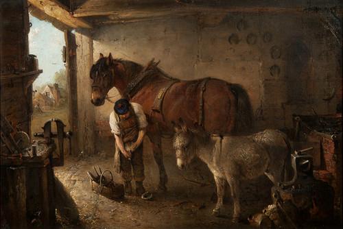 Art Prints of A Farrier Shoeing a Plough Horse by Edward Robert Smythe