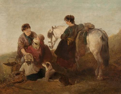 Art Prints of A Mother with Her Children by the Shore by Edward Robert Smythe