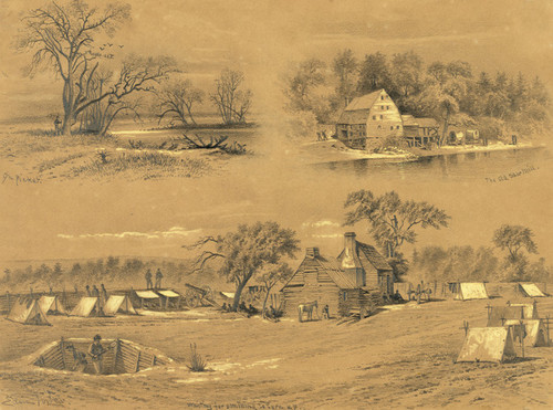 Art Prints of On Picket on the River Bank (20754L) by Edwin Forbes