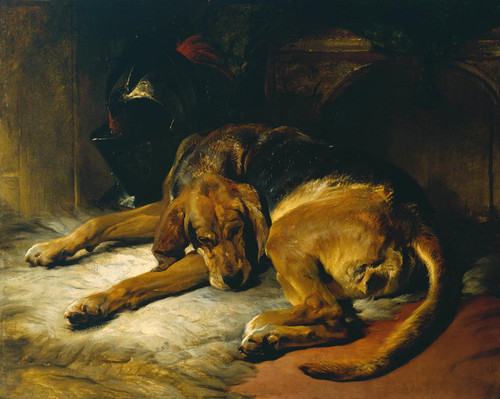 Art Prints of Sleeping Bloodhound by Edwin Henry Landseer