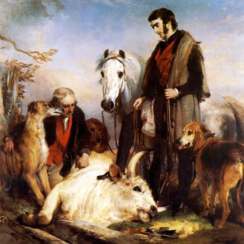 Art Prints of Scene in Chillingham Park, Death of Wild Bull by Edwin Henry Landseer
