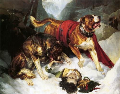 Art Prints of Alpine Mastiffs and a Distressed Traveller by Edwin Henry Landseer