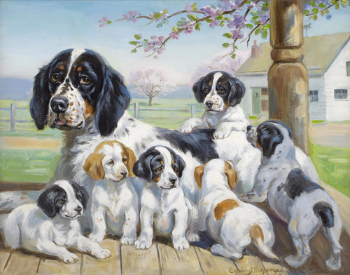 Art Prints of Bess and Her Puppies, English Setters by Edwin Megargee