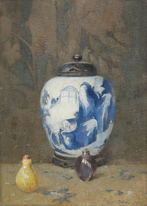 Art Prints of Still Life with Chinese Vase by Emil Carlsen