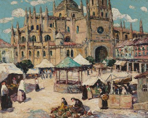 Art Prints of Market Square Segovia, Spain by Ernest Lawson
