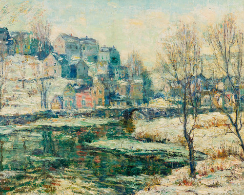 Art Prints of Snowy Day Along the River by Ernest Lawson
