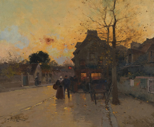 Art Prints of Fall Evening in a Village by Eugene Galien-Laloue