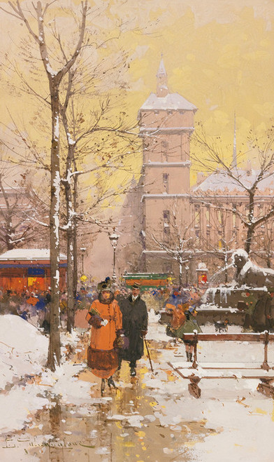 """Art Prints of ChC""""telet and Concierge in Snow by Eugene Galien-Laloue"""