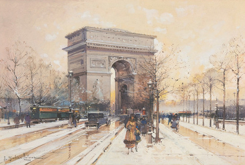 Art Prints of Arc de Triomphe Under the Snow by Eugene Galien-Laloue