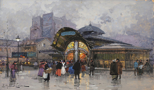 Art Prints of Les Halles, Paris Food Market by Eugene Galien-Laloue