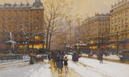 Art Prints of Paris in the Snow by Eugene Galien-Laloue