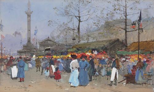 Art Prints of The Market, Paris by Eugene Galien-Laloue