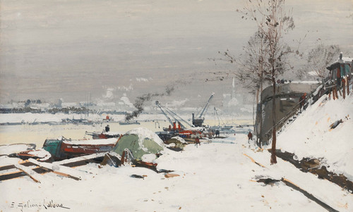 Art Prints of Bercy Dock in Snow by Eugene Galien-Laloue