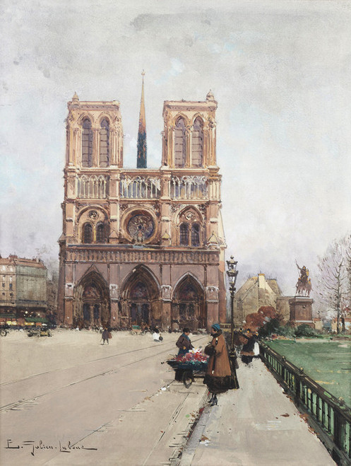 Art Prints of Notre Dame Flower Lady, Paris by Eugene Galien-Laloue