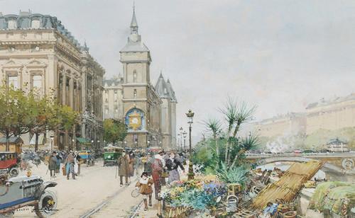 Art Prints of Paris, Quai de Horloge Flower Seller by Eugene Galien-Laloue
