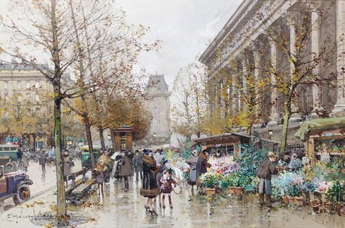 Art Prints of Paris, Le Marche aux Fleurs by Eugene Galien-Laloue