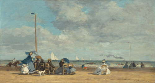 Art Prints of Beach at Trouville by Eugene Boudin