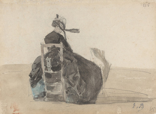 Art Prints of Seated Woman in Black, Trouville by Eugene Boudin