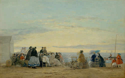 Art Prints of The Beach at Sunset by Eugene Boudin