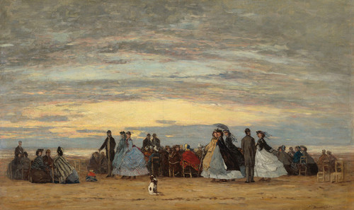 Art Prints of The Beach at Villerville by Eugene Boudin