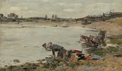 Art Prints of Washers Along the Touques by Eugene Boudin