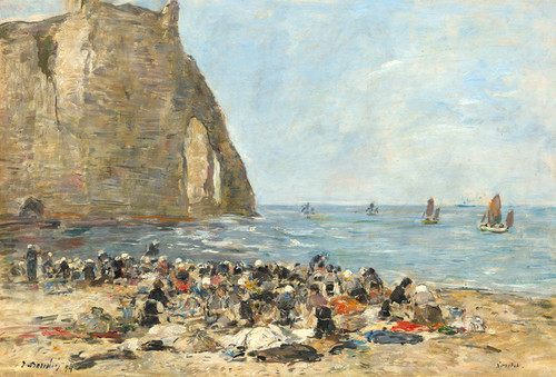 Art Prints of Washerwomen on the Beach at Etretat by Eugene Boudin