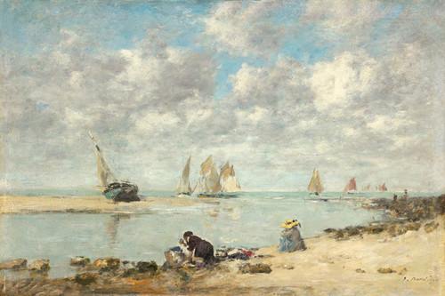 Art Prints of Washerwoman near Trouville by Eugene Boudin