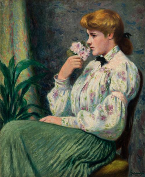 Art Prints of Portrait of a Girl with a Flower by Federico Zandomeneghi