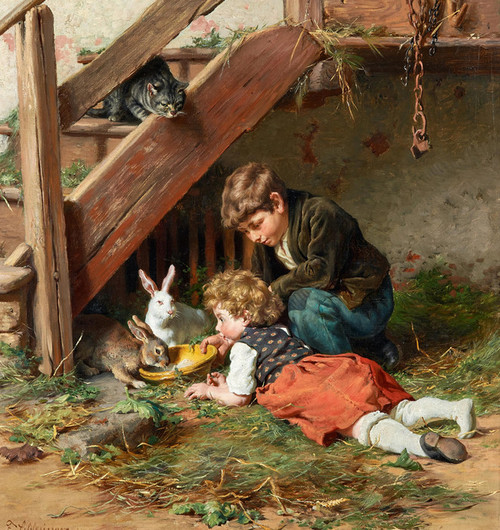 Art Prints of Feeding in the Afternoon by Felix Schlesinger