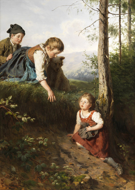 Art Prints of Three Children in the Woods Picking Berries by Felix Schlesinger