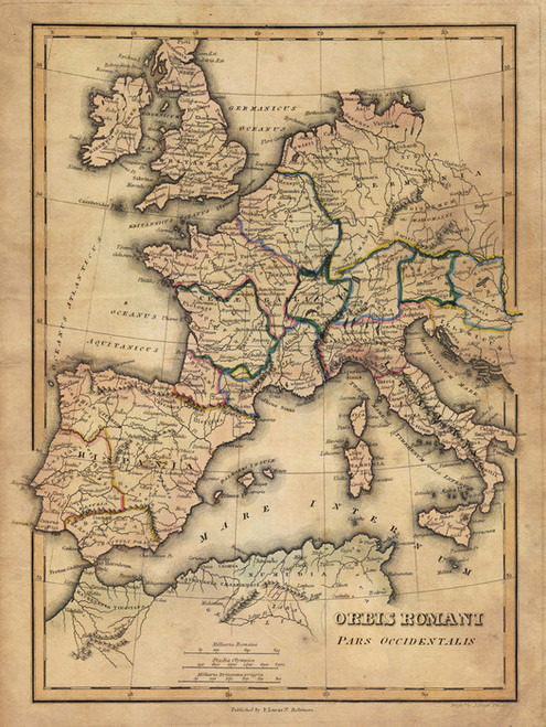 Art Prints of Orbis Romani Pars Occidentalis, 1823 (4584004) by Fielding Lucas Jr.