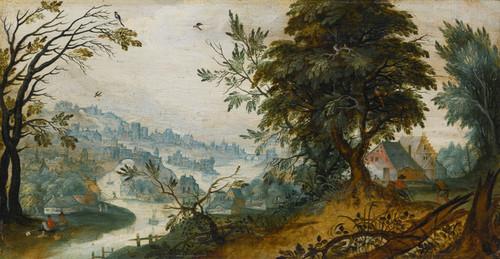 Art Prints of A Wooded River Landscape, Flemish School