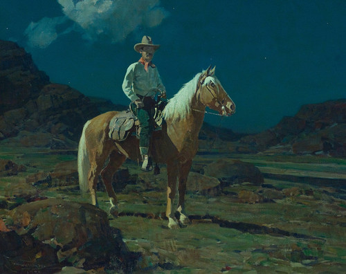 Art Prints of Moonlight on the Ranch by Frank Tenney Johnson