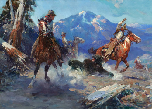 Art Prints of Cowboys Roping a Bear by Frank Tenney Johnson
