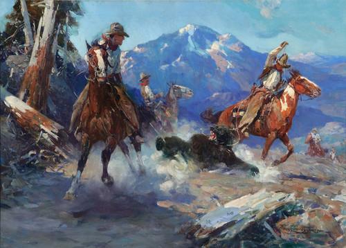Art Prints of Cowboys Roping a Bear by Frank Tenney Johnson
