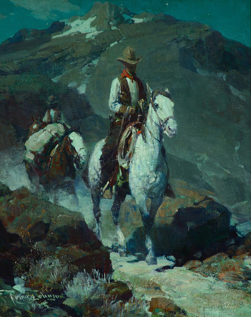 Art Prints of The Moonlit Trail by Frank Tenney Johnson