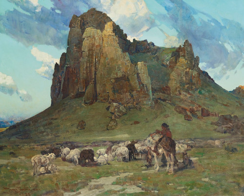 Art Prints of Where Navajos Tend their Flocks by Frank Tenney Johnson