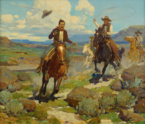 Art Prints of Pursuit of a Cattle Thief by Frank Tenney Johnson