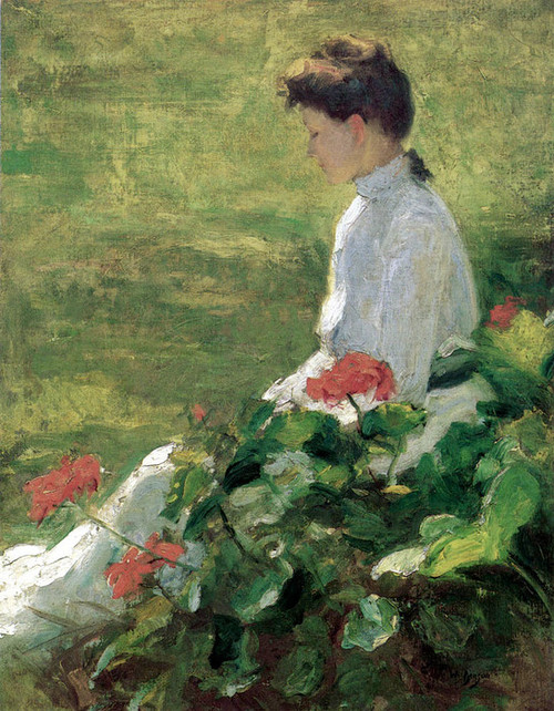 Art Prints of Woman the Geraniums by Frank Weston Benson