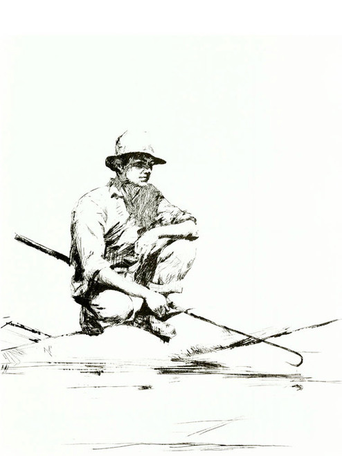 Art Prints of Man with a Gaff by Frank Weston Benson