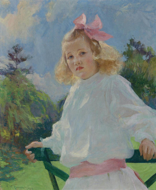 Art Prints of Girl with Pink Bow by Frank Weston Benson